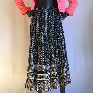 Tribal Print Cotton Crinkled Maxi Skirt XSmall